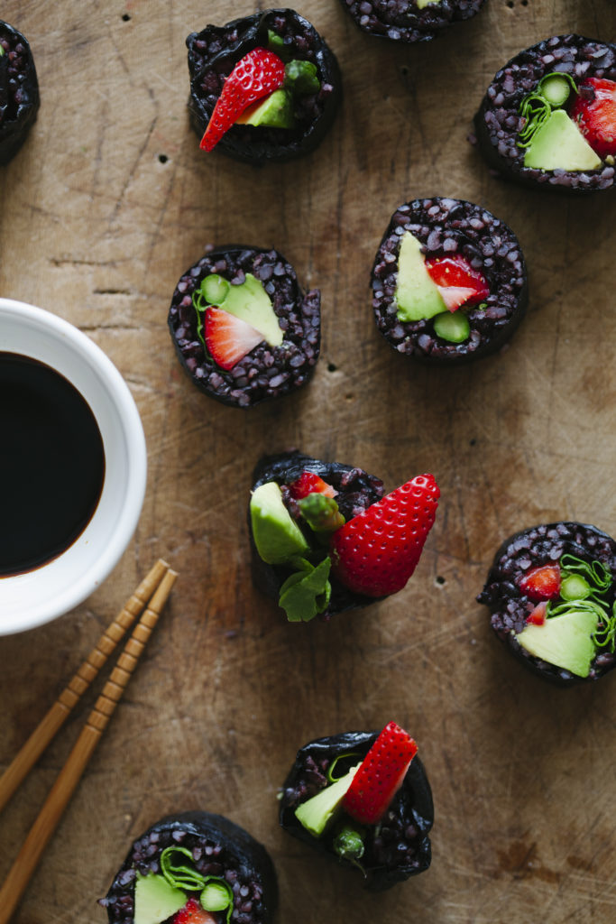 Strawberry and Asparagus Black Rice Sushi