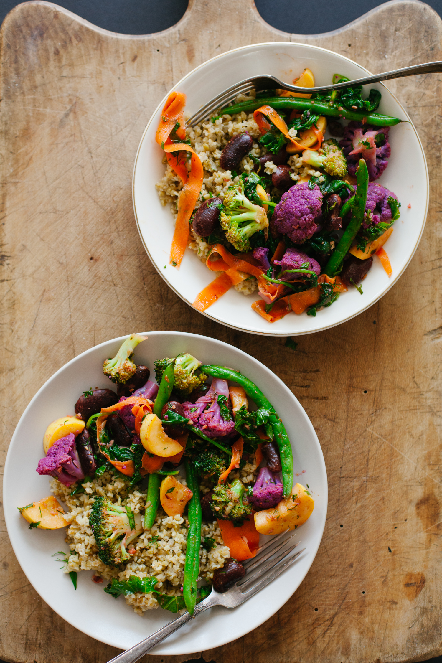 Marinated Summer Vegetables and Beans over Freekeh | Golubka Kitchen