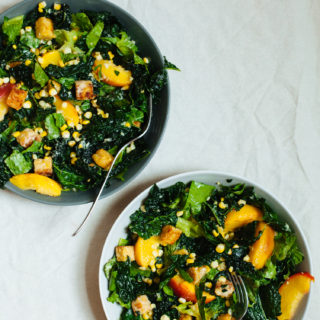 Vegan Caesar Salad with Tempeh Croutons, Roasted Peaches and Corn   Golubka Kitchen