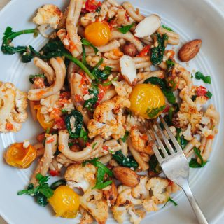 Sprouted Almond Romesco Pasta with Roasted Cauliflower and Blistered Tomatoes   Golubka Kitchen