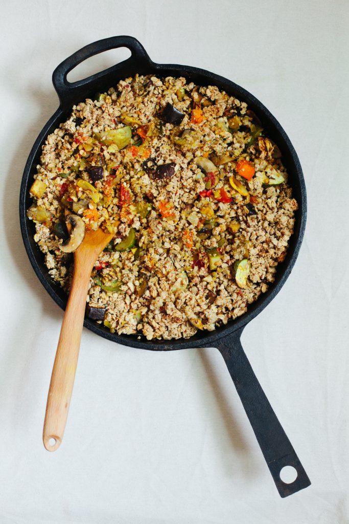 Savory Vegetable Crumble with Eggplant, Zucchini, Tomatoes and Mushrooms