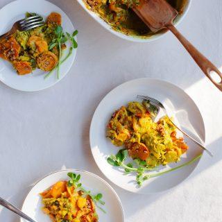 Sweet Potato and Brussels Sprout Gratin | Golubka Kitchen
