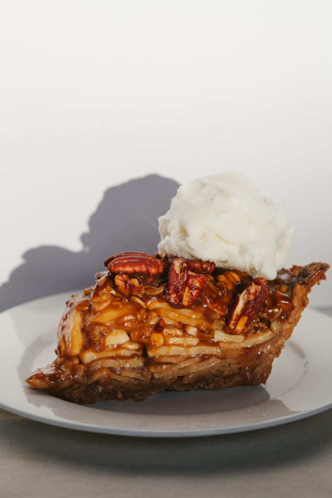 Apple Pecan Pie with Salted Pumpkin Caramel