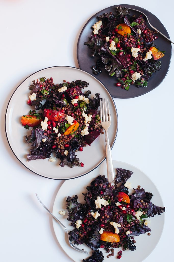 Kale Salad with Marinated Beets, Lentils and Almond Cheese