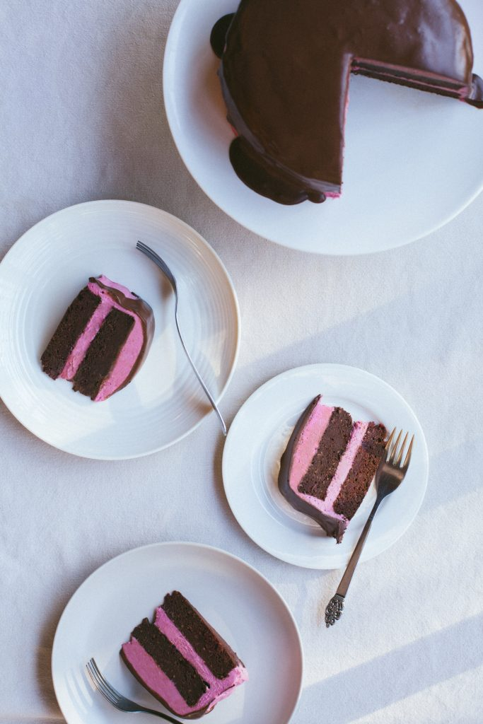 Chocolate Beet Layer Cake with Pink Frosting and Chocolate Ganache