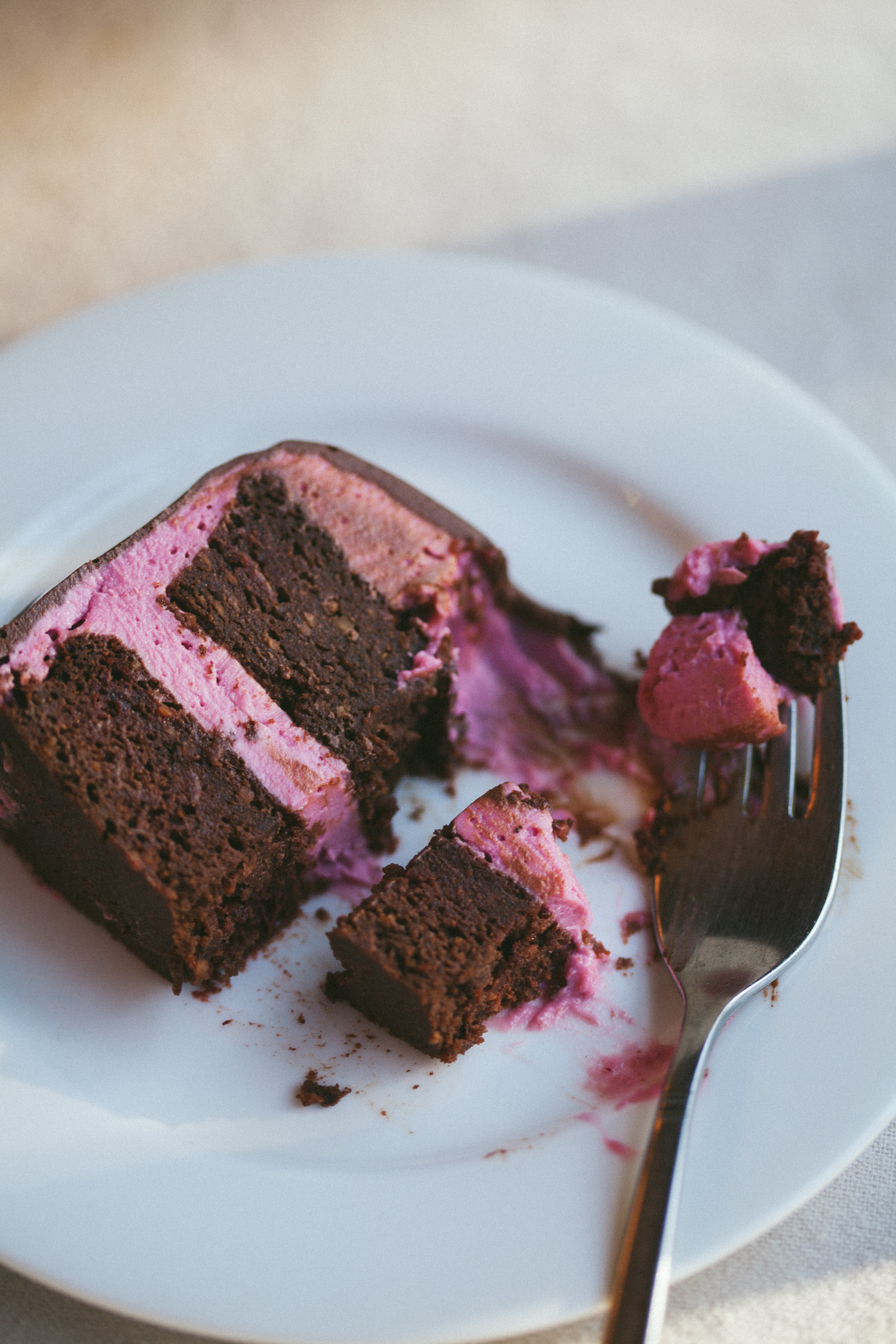 Chocolate Beet Layer Cake with Pink Frosting and Chocolate Ganache | Golubka Kitchen