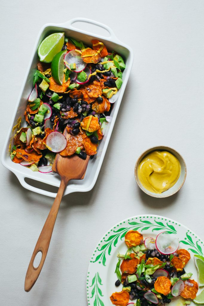 Sweet Potato Nachos with Cheesy Chipotle Sauce and All the Fixings