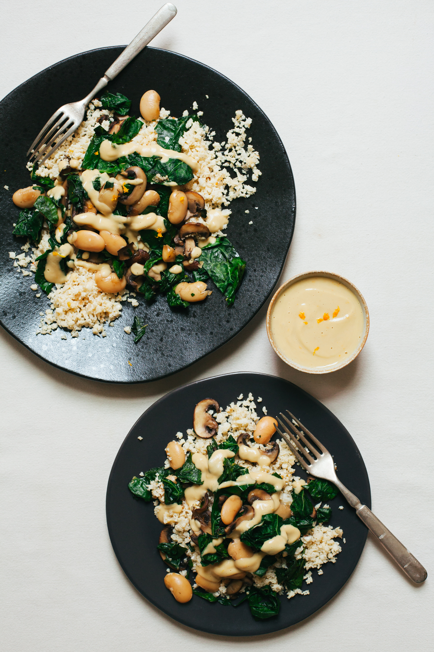 Cauliflower Rice with Zingy White Beans and Kale - Golubka Kitchen