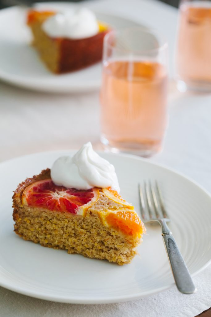 Upside Down Citrus Polenta Cake