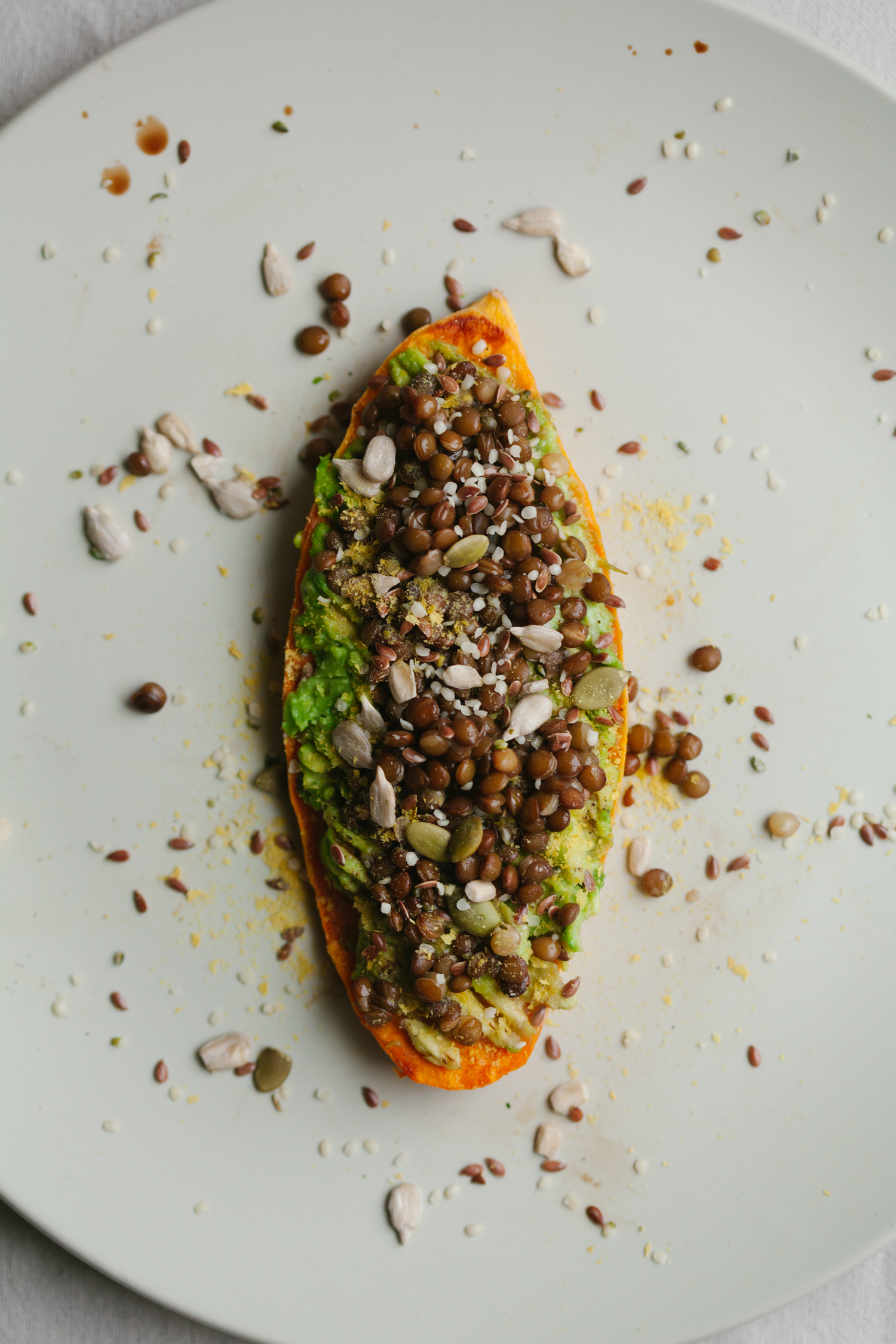 Avocado-Lentil Sweet Potato Toast - Golubka Kitchen