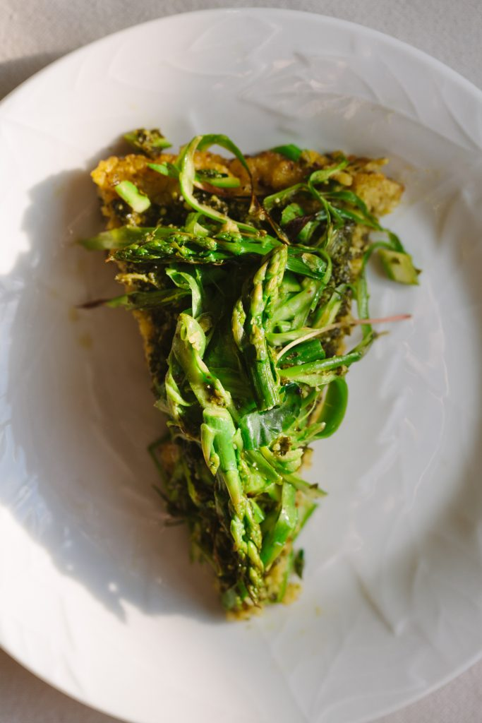 Green Skillet Pizza with Asparagus and Pesto
