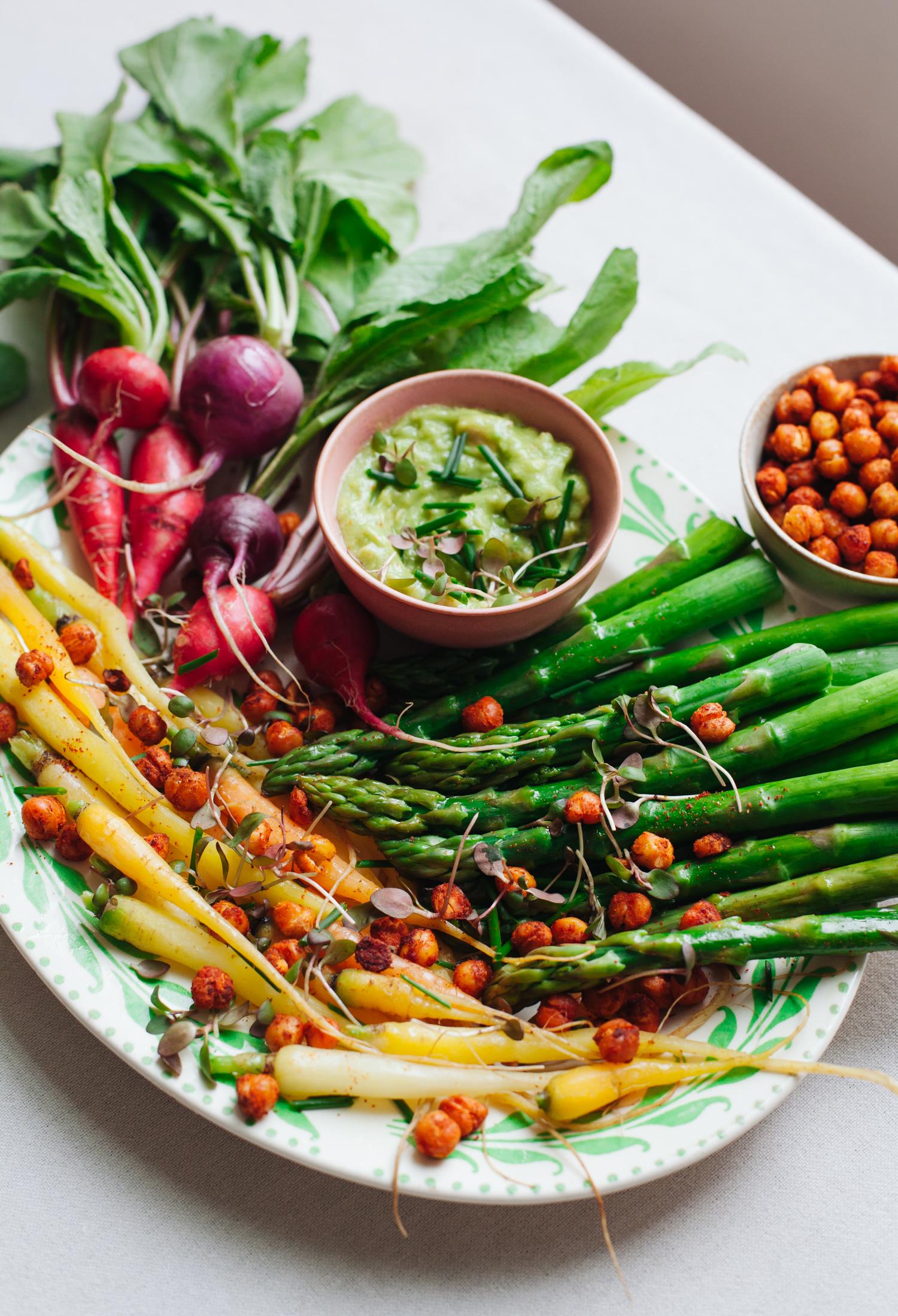Spring Vegetables with Smoky Chickpea Croutons and Avocado Aioli - Golubka Kitchen