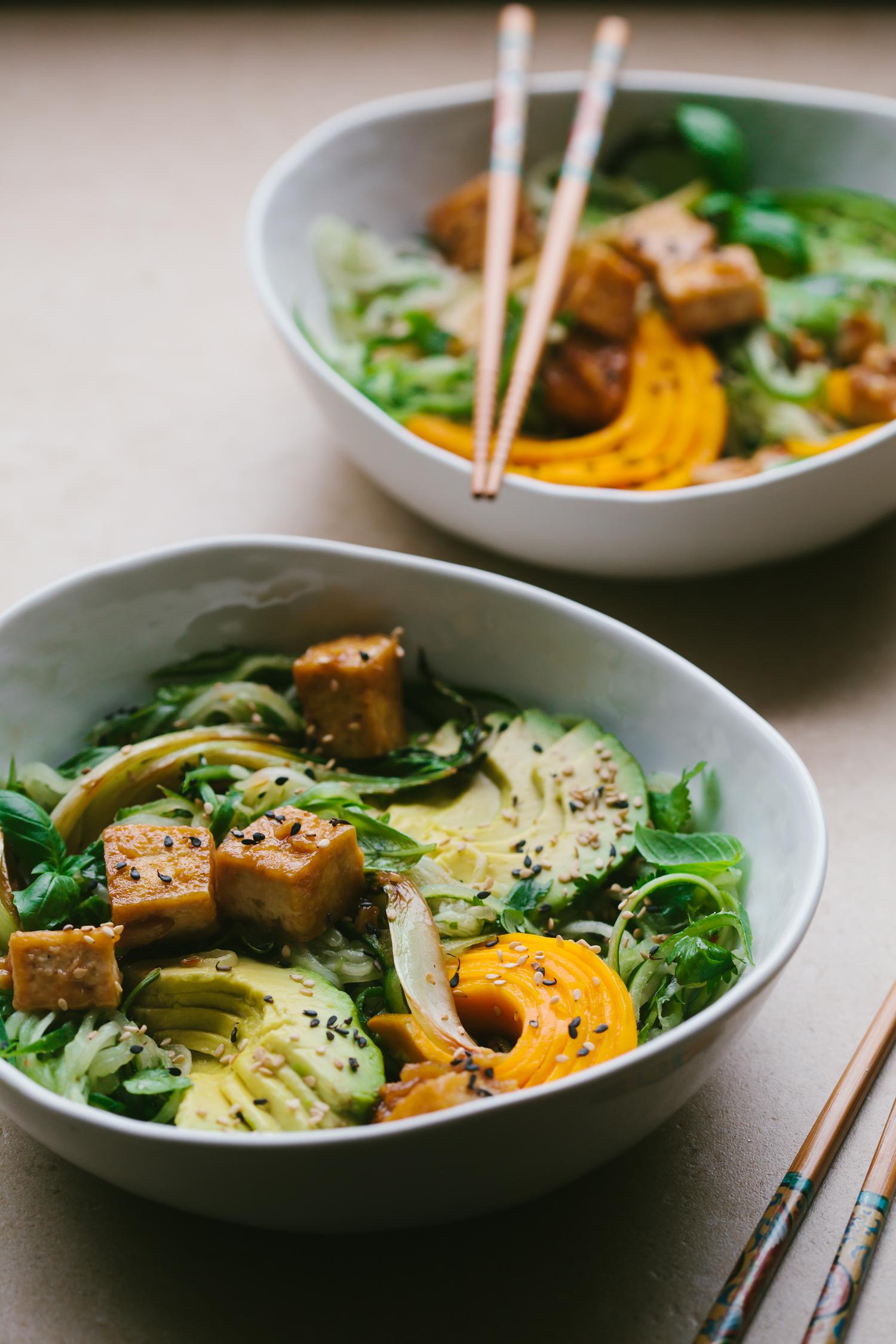 Glazed Tofu with Limey Cucumber Noodles and Mango - Golubka Kitchen