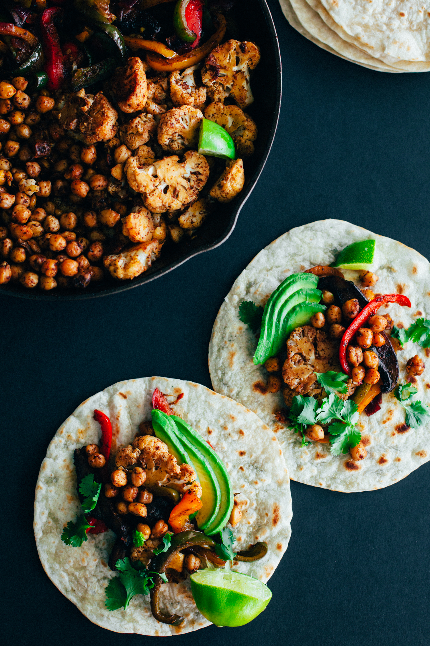 Cauliflower Chickpea Fajitas - Golubka Kitchen