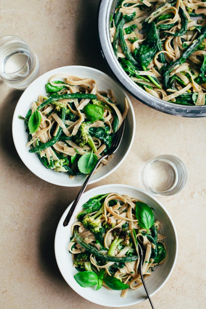 Creamy, Garlicky Fettuccine with Roasted Green Vegetables