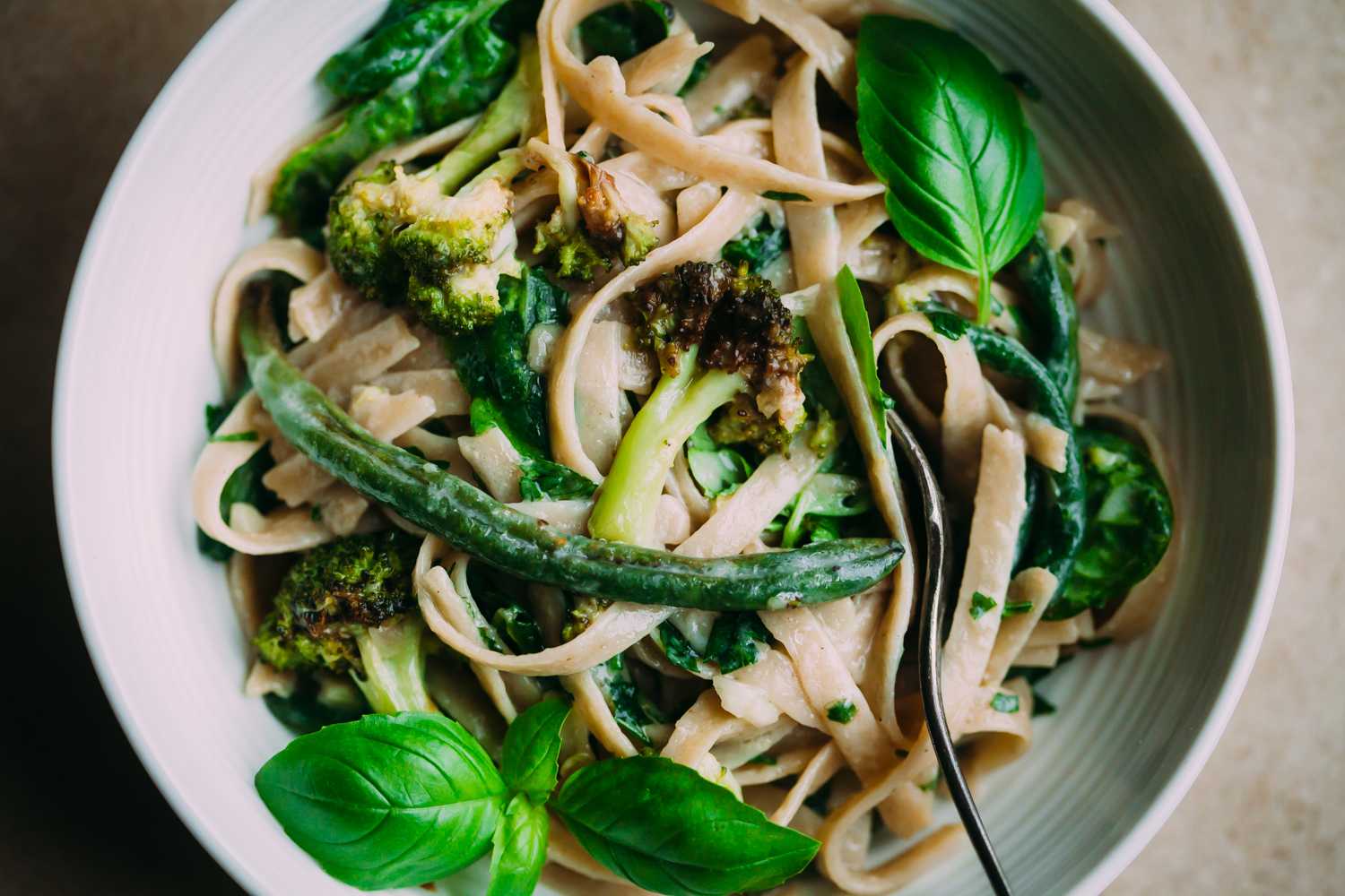 Creamy, Garlicky Fettuccine with Roasted Green Vegetables - Golubka Kitchen