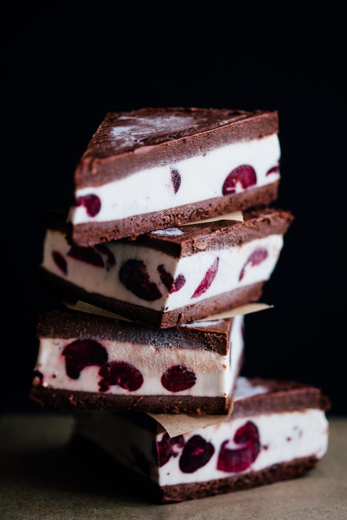 Chocolate Brownie and Cherry Ice Cream Sandwiches