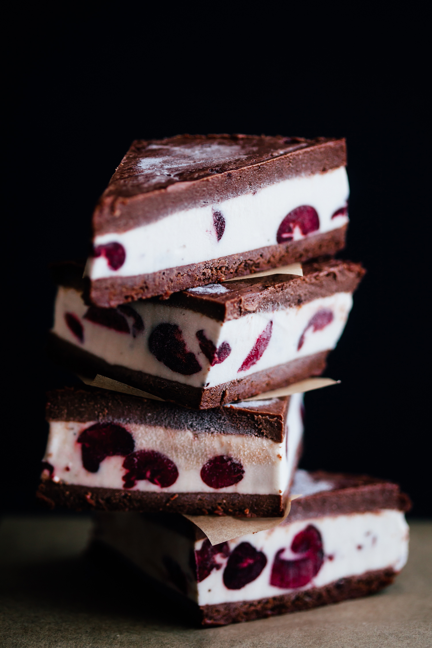 Chocolate Brownie and Cherry Ice Cream Sandwiches - Golubka Kitchen