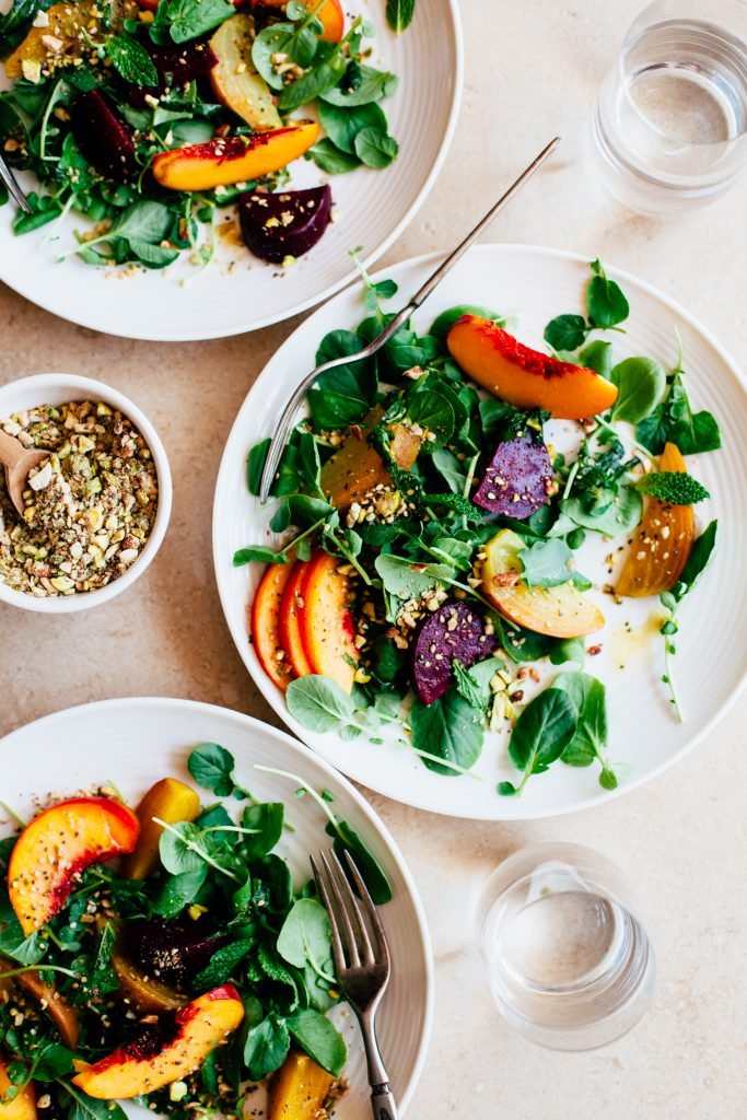 Peach and Beet Watercress Salad with a Multi-Seed Dukkah