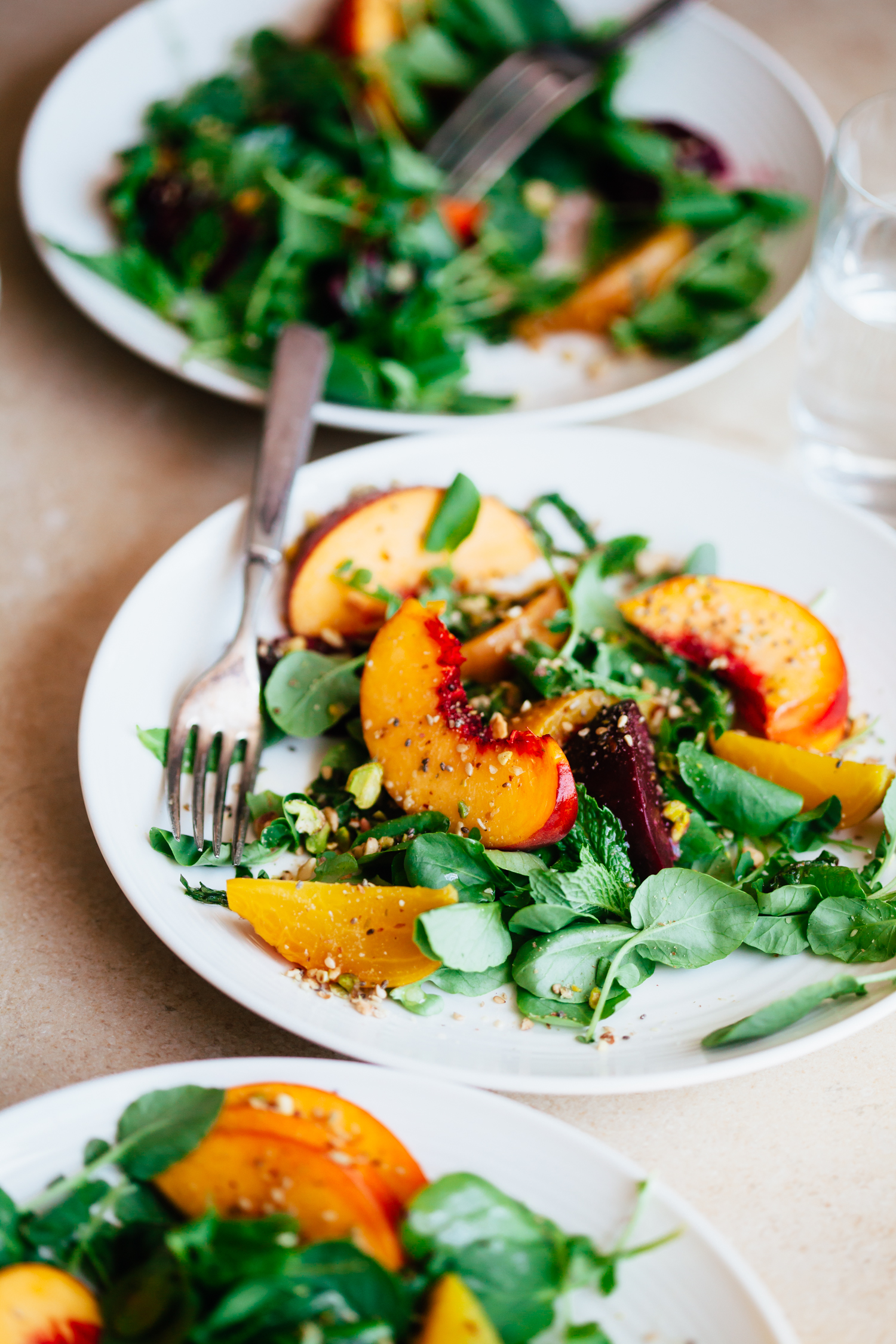 Peach and Beet Watercress Salad with a Multi-Seed Dukkah - Golubka Kitchen