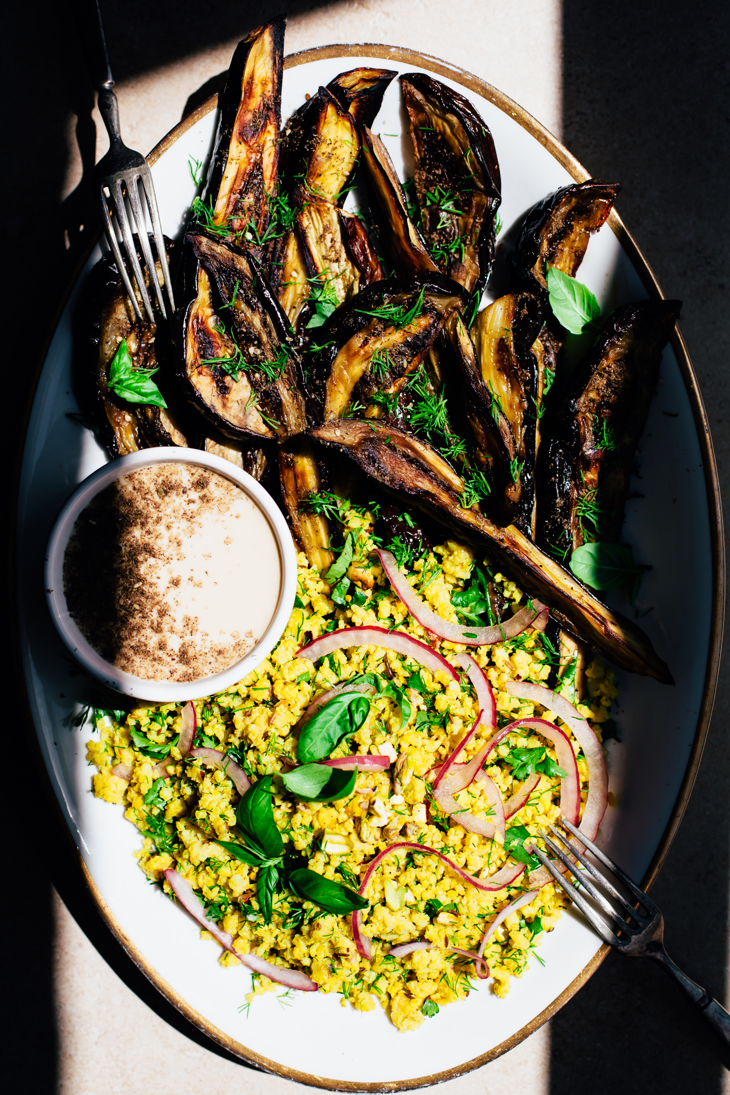 Roasted Eggplant Wedges with Herbed Pistachio Millet - Golubka Kitchen