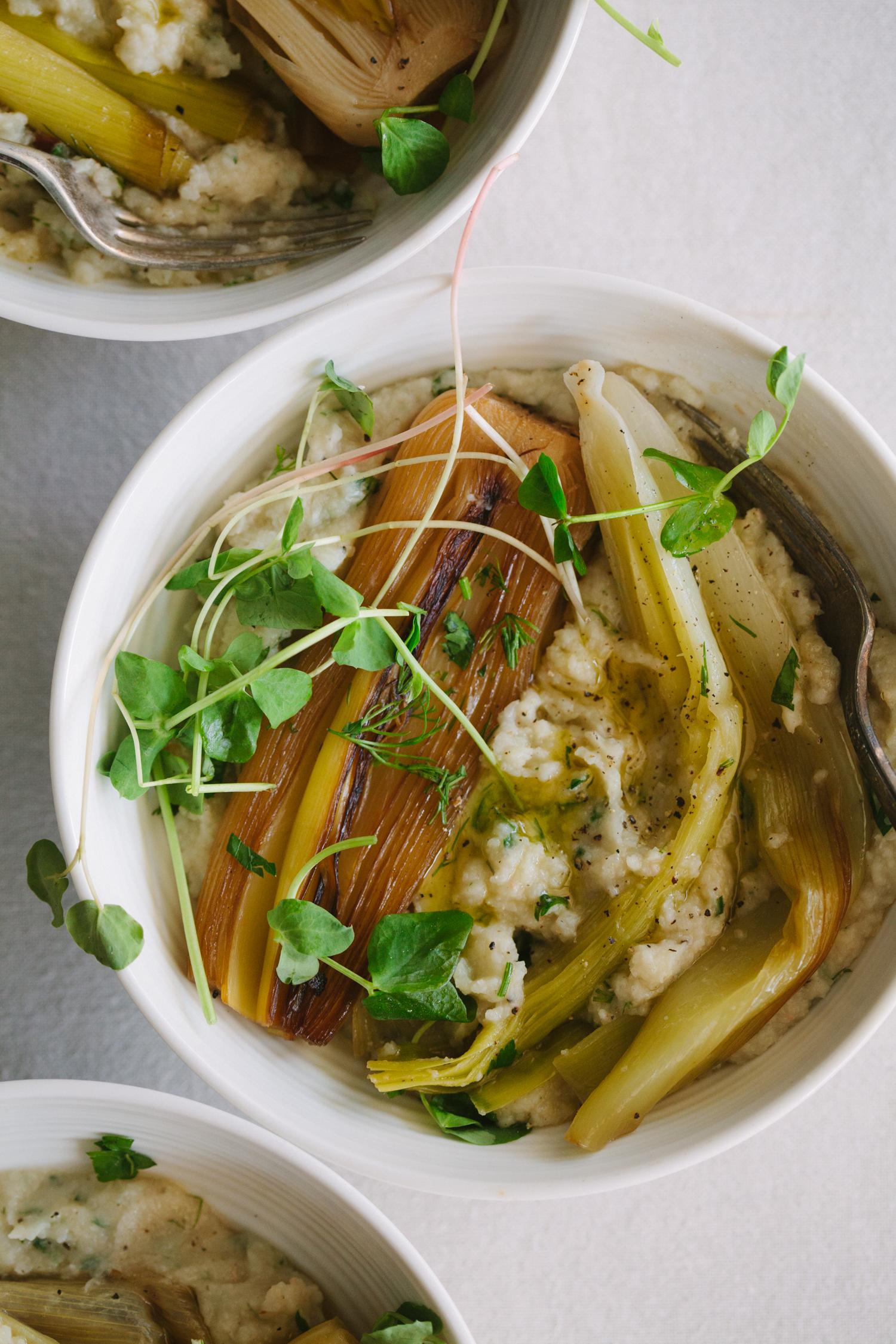 Braised Leeks with Cauliflower White Bean Mash - Golubka Kitchen