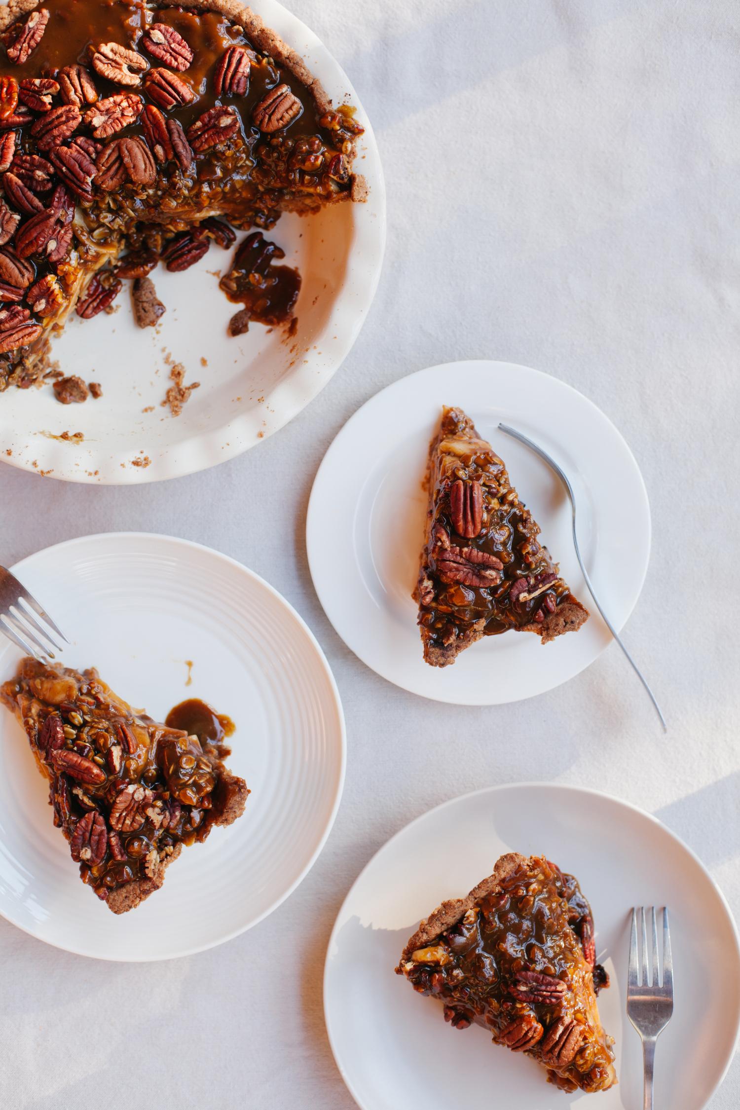 Apple Pecan Pie with Salted Pumpkin Caramel - Golubka Kitchen
