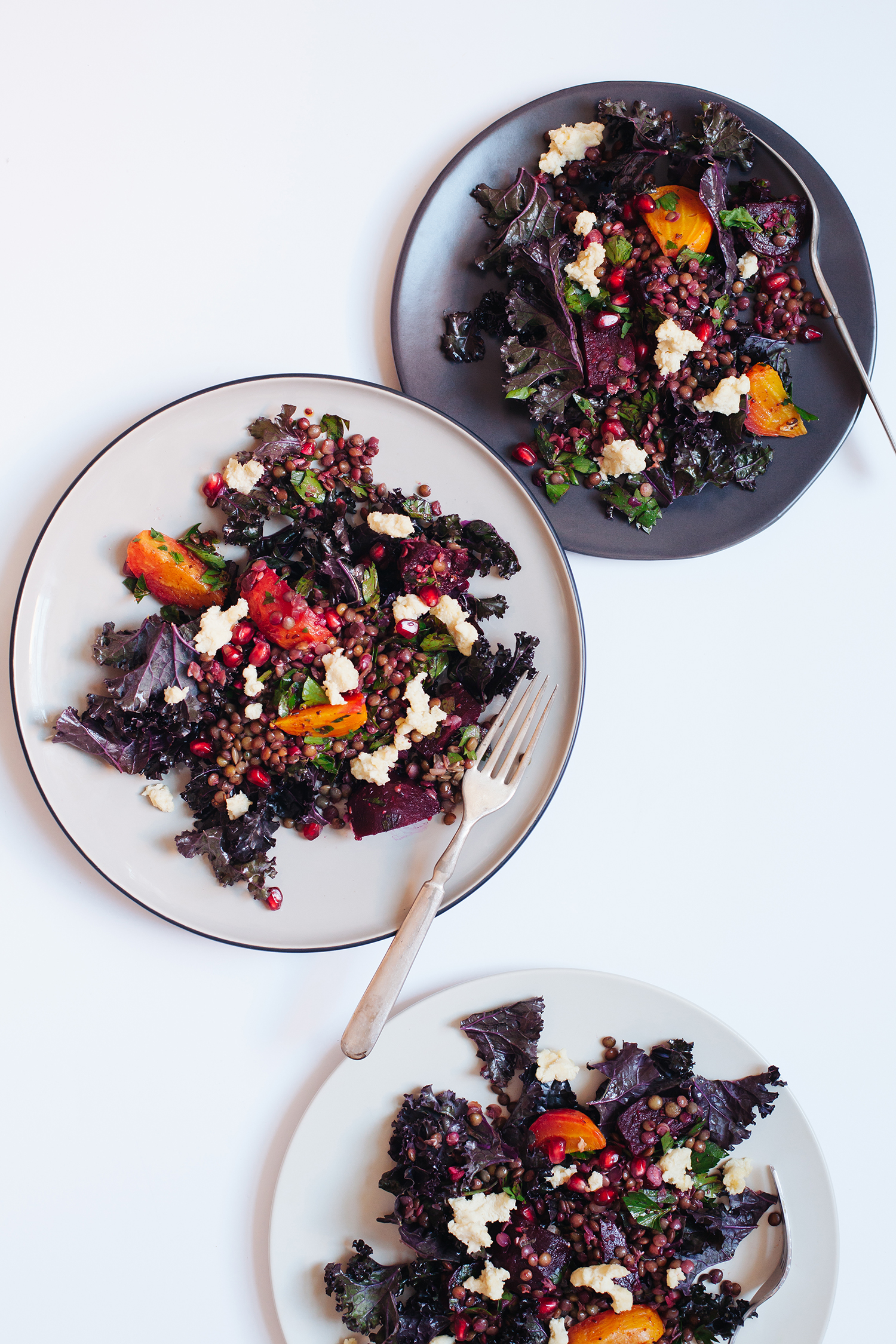 Kale Salad with Marinated Beets, Lentils and Almond Cheese - Golubka Kitchen