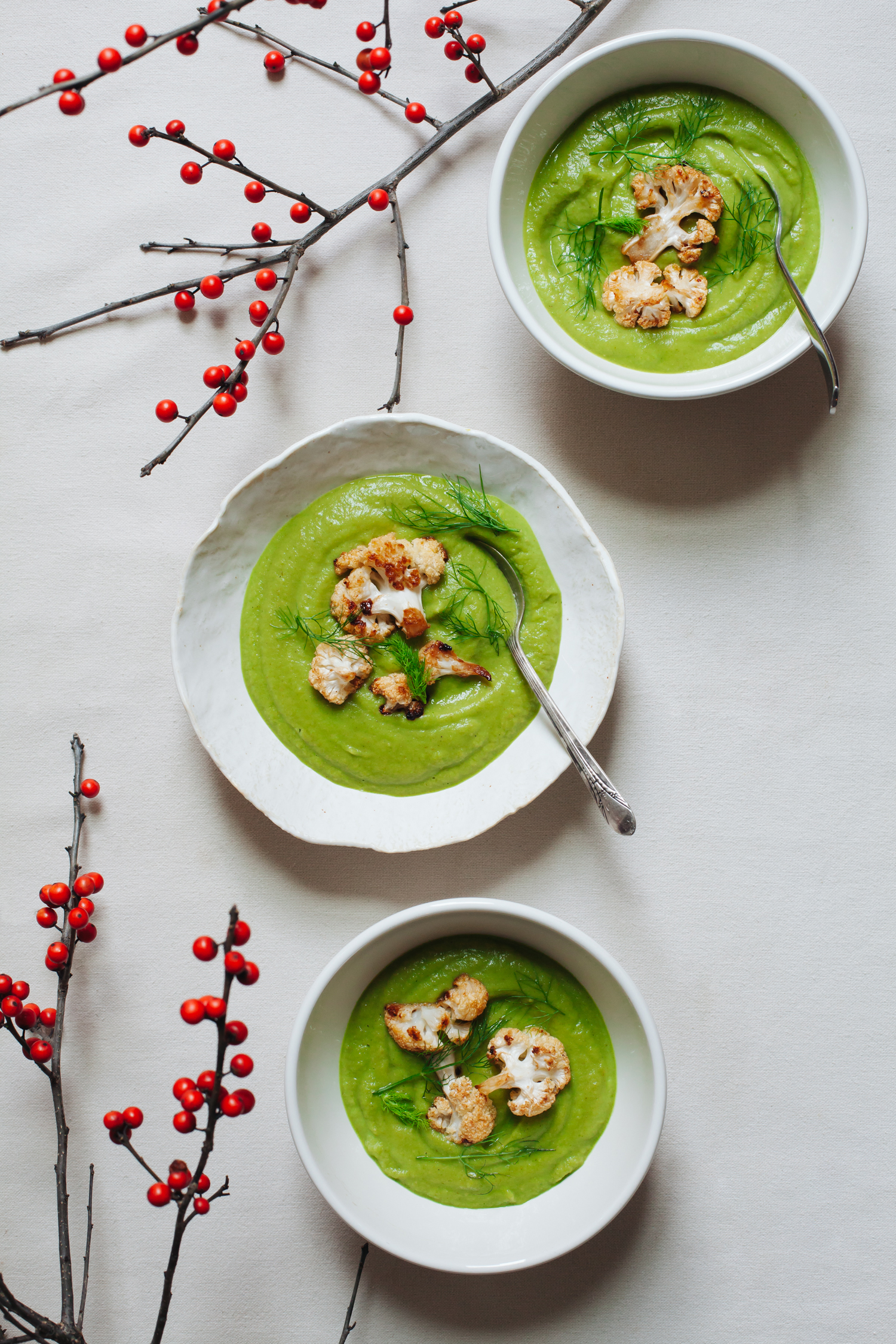 Winter Root and Fennel Soup with Greens and Caramelized Cauliflower - Golubka Kitchen