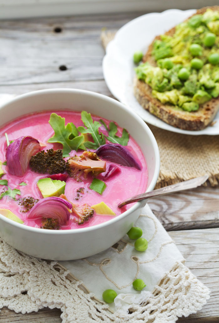 Pink Soup with Roasted Onion and Broccoli - Golubka Kitchen