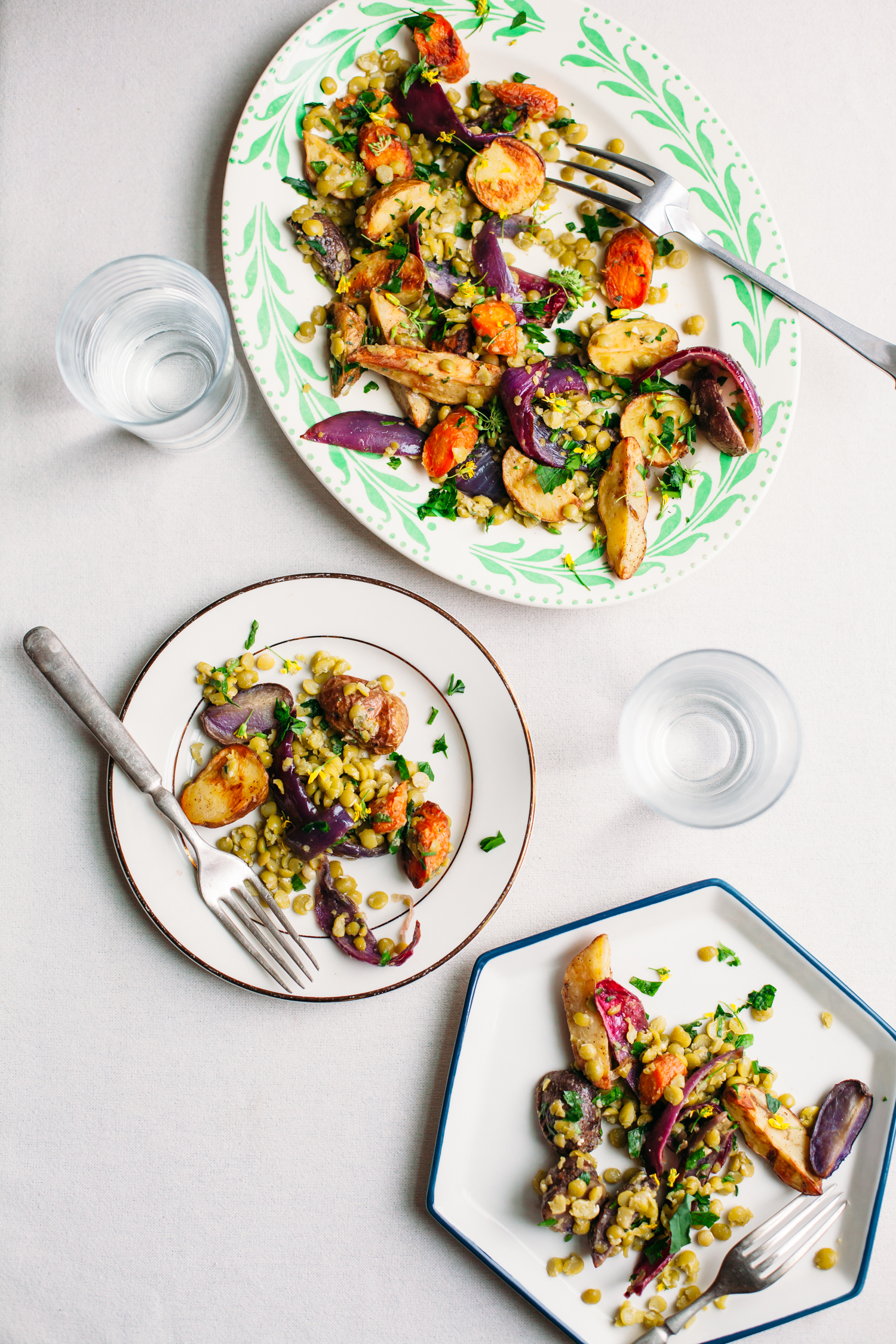 Roasted Potato and Split Pea Salad with Miso Vinaigrette - Golubka Kitchen