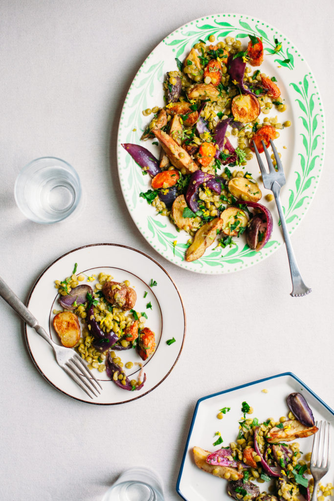 Roasted Potato and Split Pea Salad with Miso Vinaigrette
