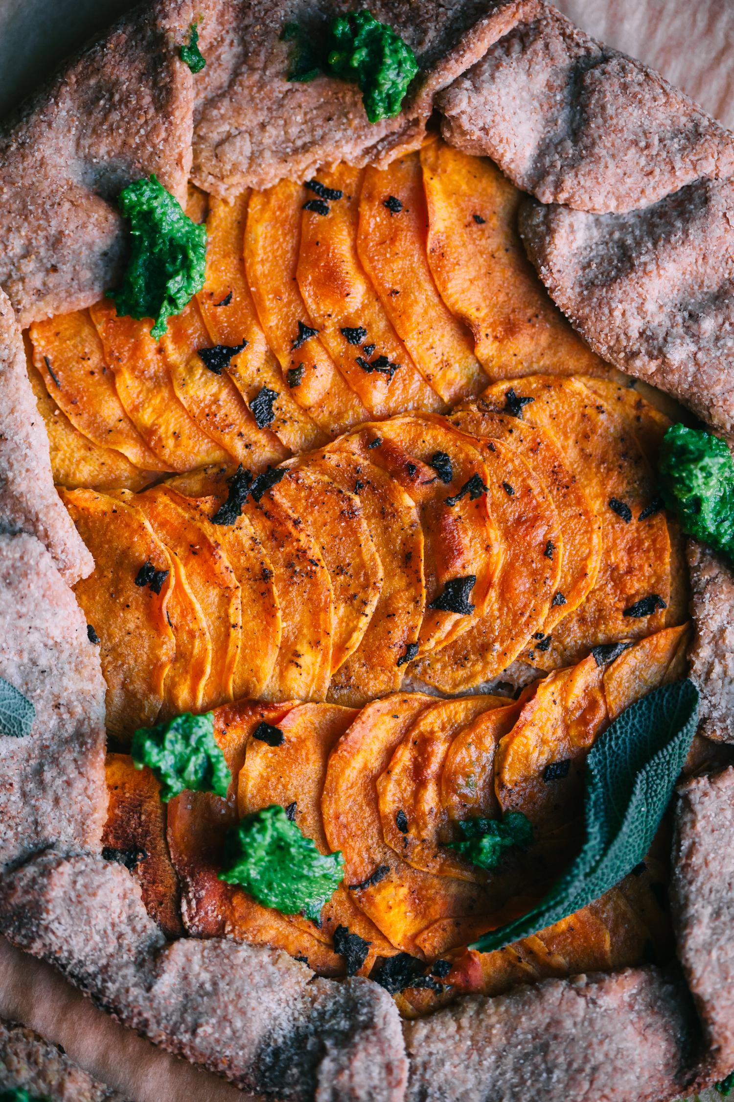 Sweet Potato Galette with Magic Green Sauce - Golubka Kitchen