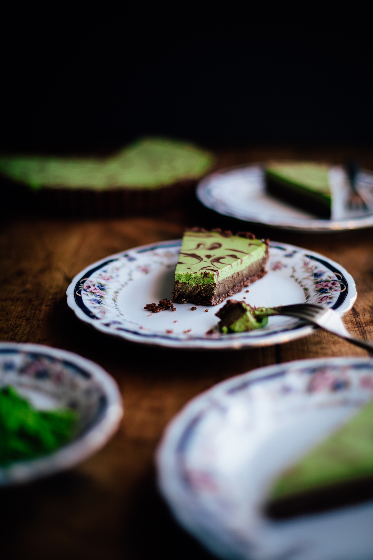 Chocolate Matcha Tart with a Sesame Crust - Golubka Kitchen