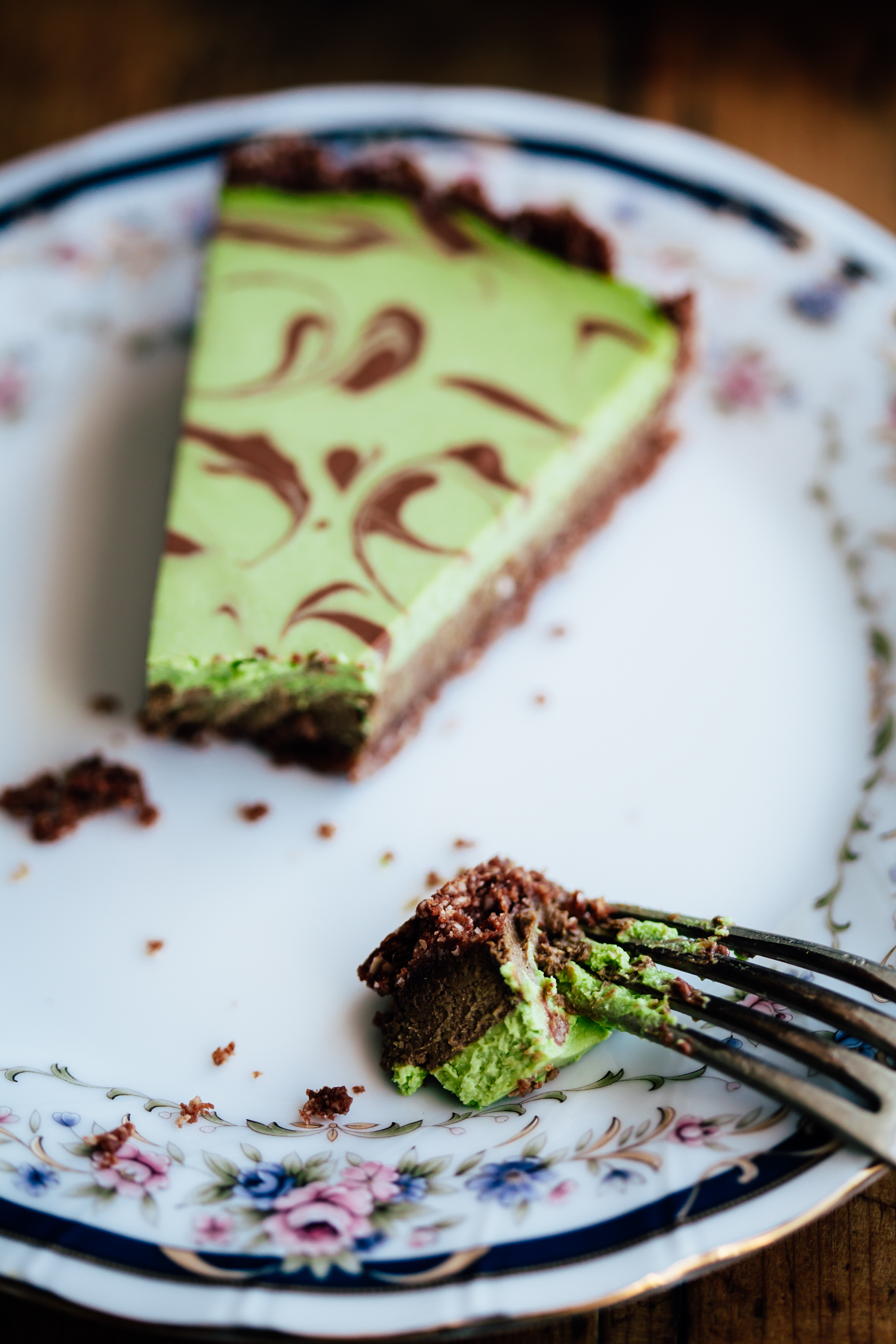 Chocolate Matcha Tart with a Sesame Crust - Golubka Kitchen