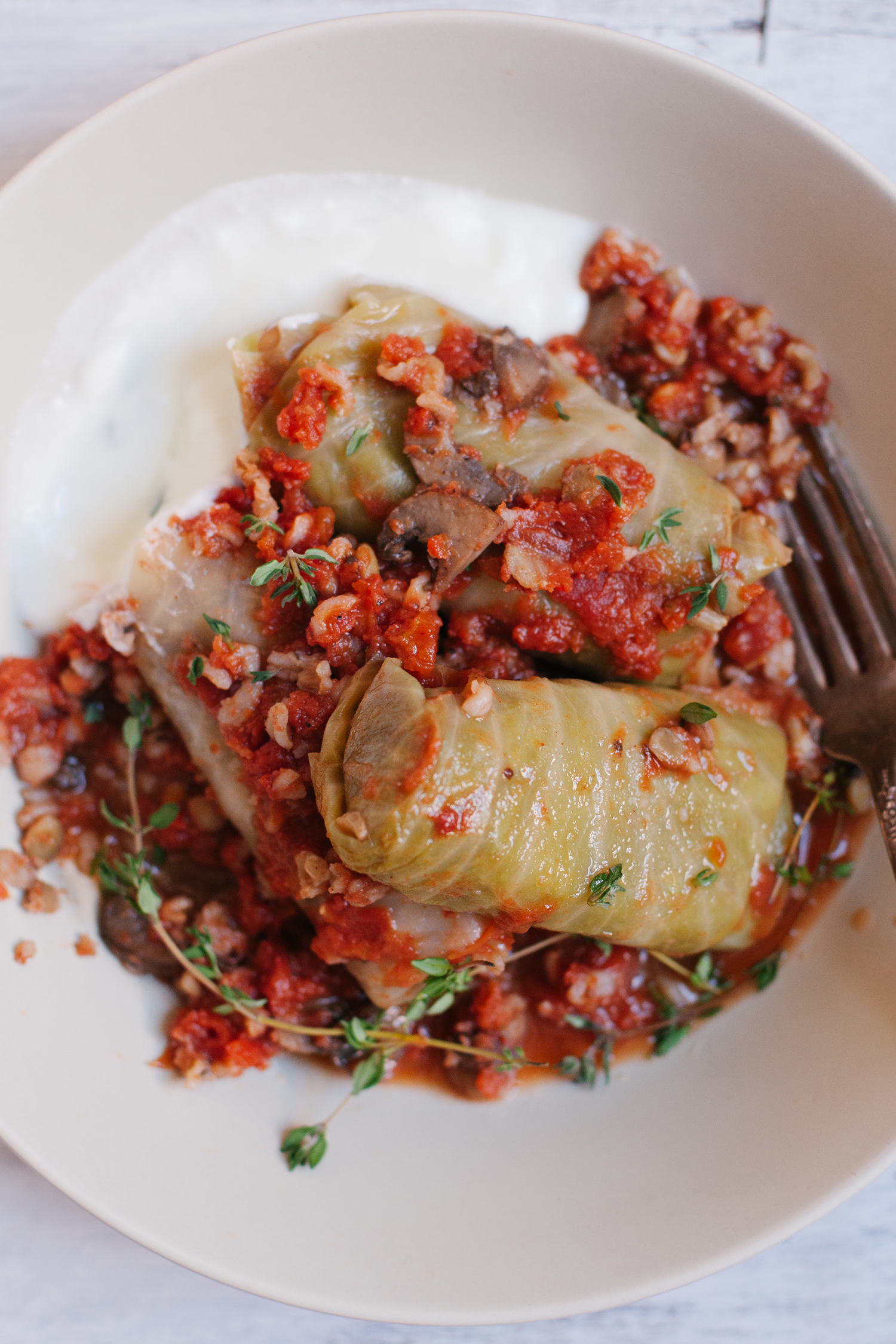 Spring Cabbage Rolls With Mushrooms, Lentils, Rice And Tomato Sauce from Simply Vibrant Cookbook