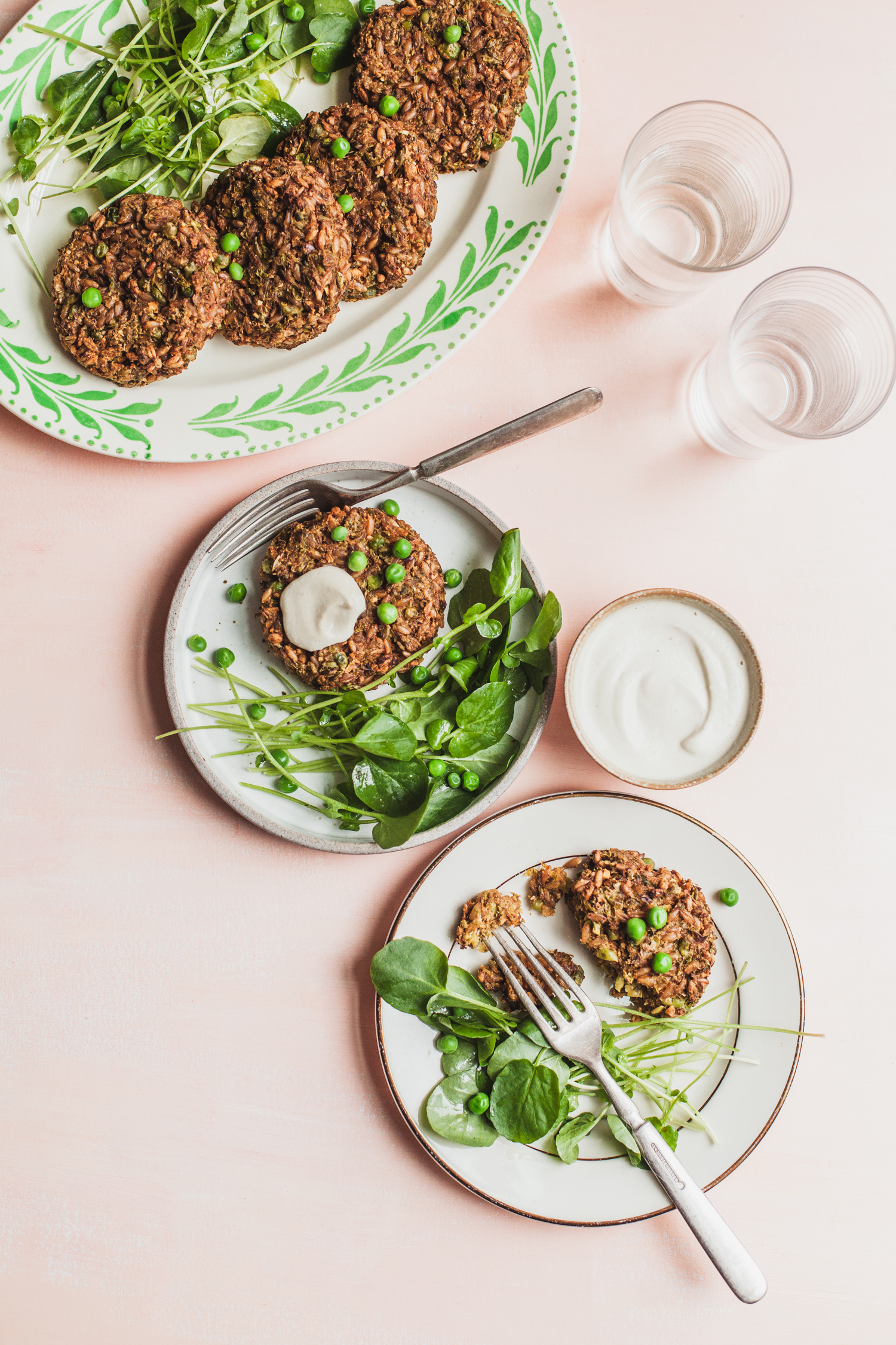 Vegan Farro and Pea Cakes - Golubka Kitchen