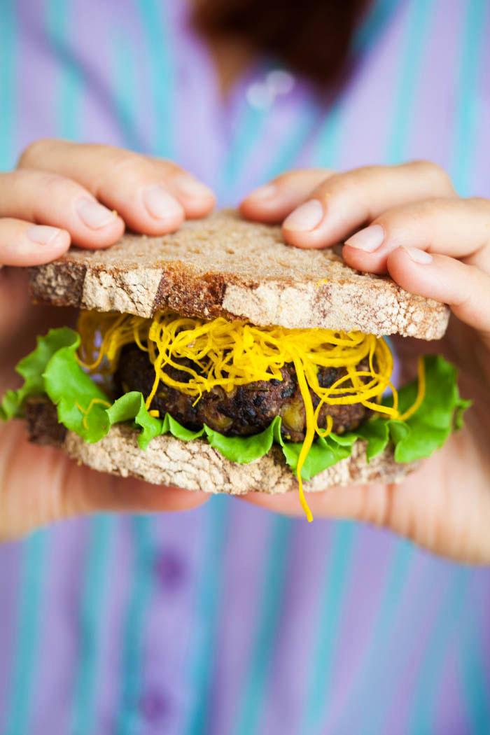 Black Rice Kaffir Lime Veggie Burgers with Asparagus Fries - Golubka Kitchen