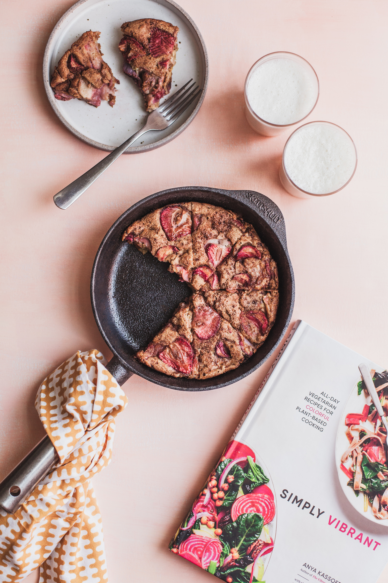 Strawberry and Rhubarb Oven Pancake - Simply Vibrant Book Club + Giveaway
