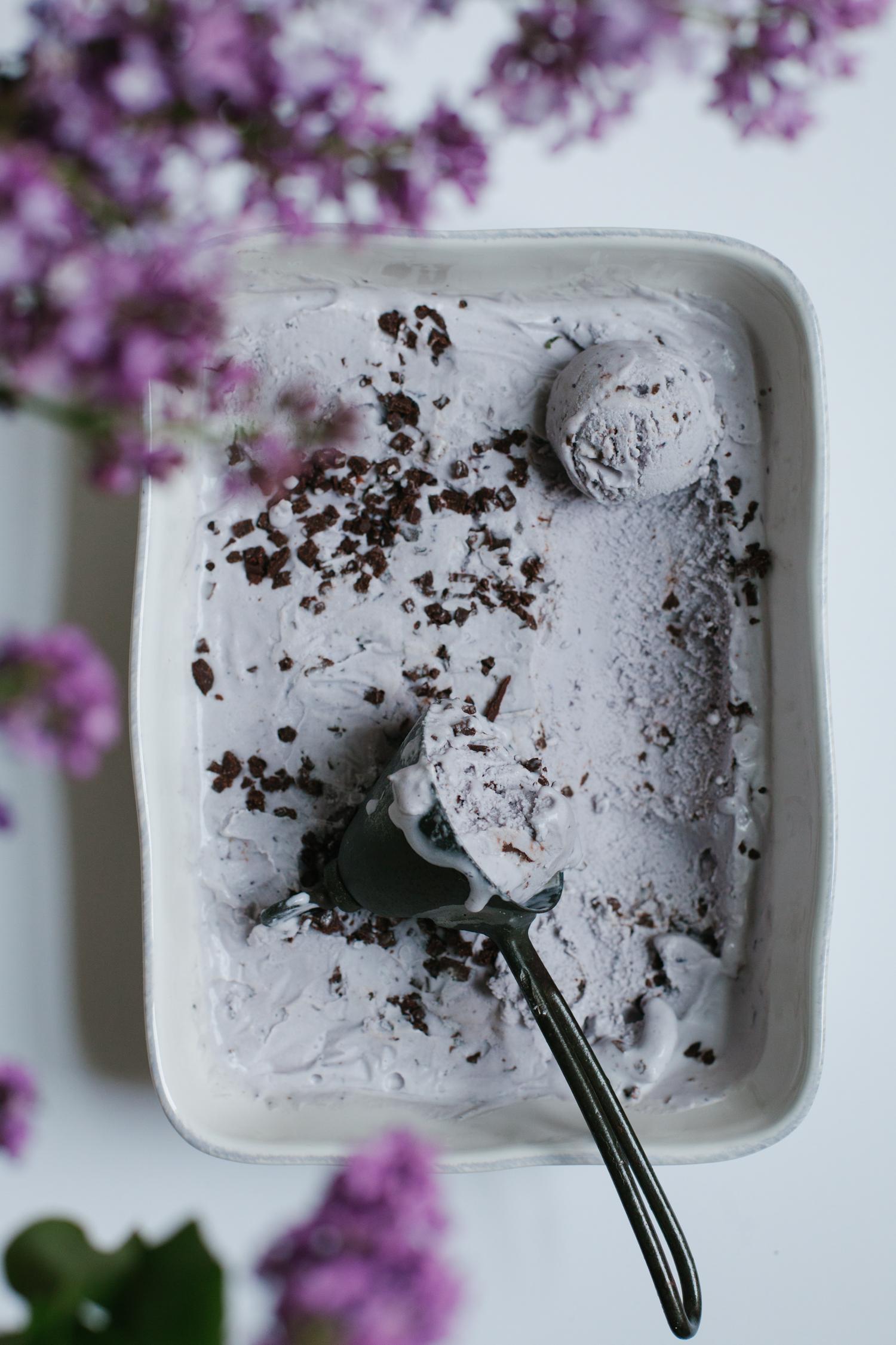 Lavender Ice Cream with Chocolate Tahini Bits - Golubka Kitchen