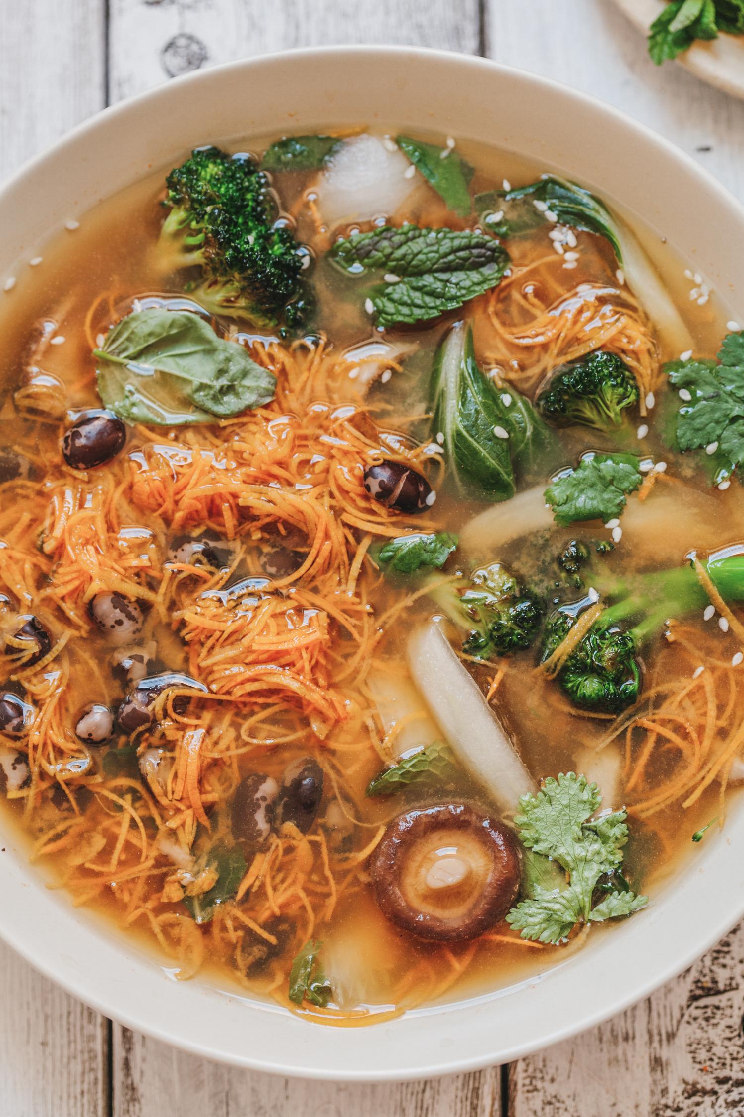 Spring Pho with Sweet Potato Noodles - Golubka Kitchen