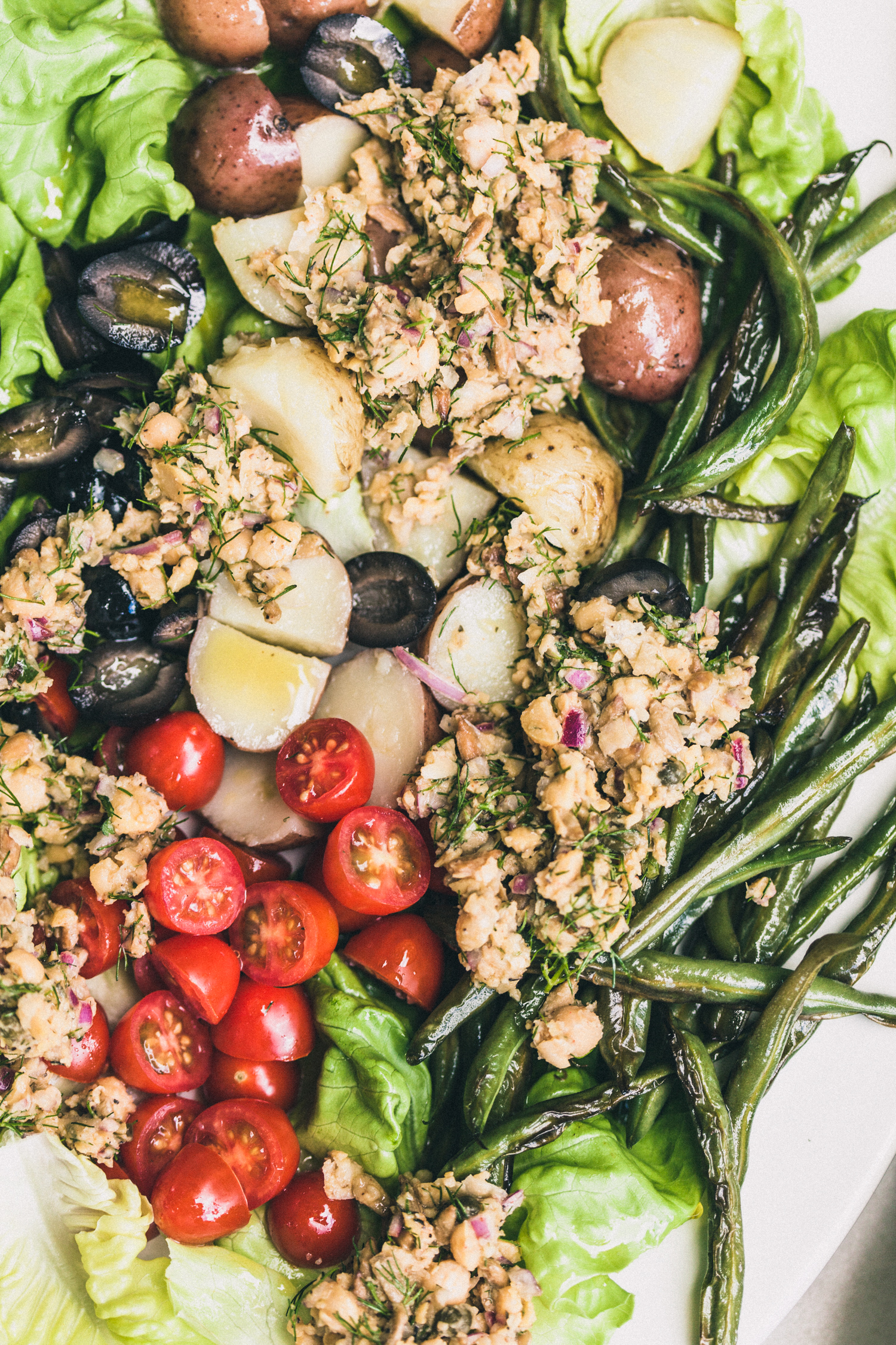 Vegan Chickpea Nicoise Salad - Golubka Kitchen