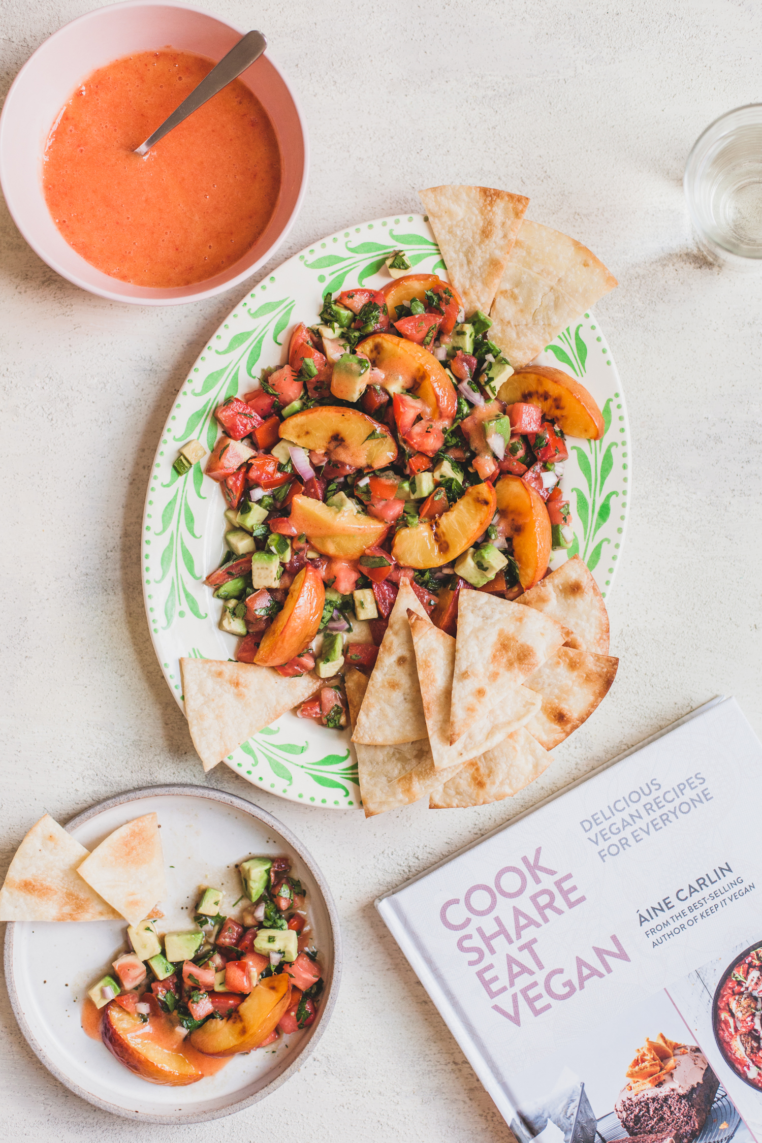 Salsa-Style Peach Panzanella from Cook Share Eat Vegan - Golubka Kitchen