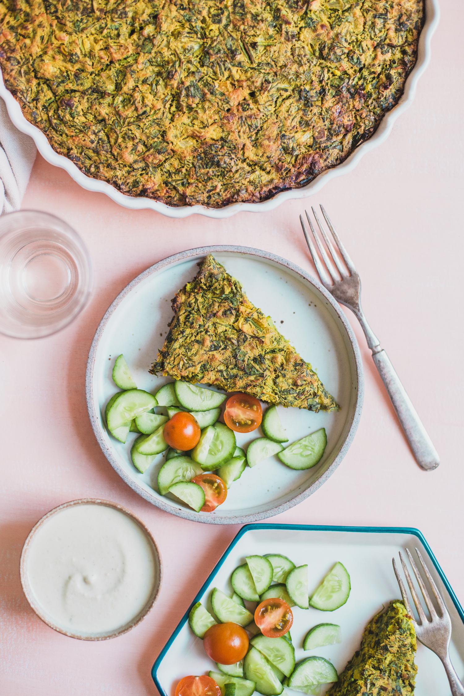 Vegan Herb Frittata (Kuku Sabzi) - Golubka Kitchen