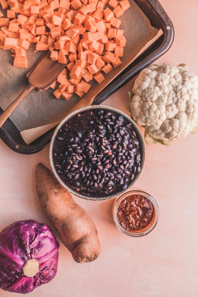 Plant-Based Meal Plan Mini: Black Beans, Sweet Potatoes, Harissa