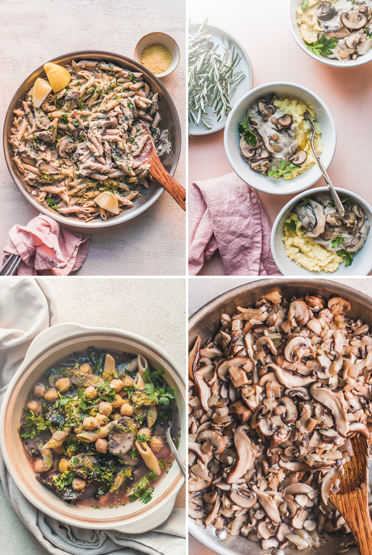 Plant-Based Meal Plan Mini: Mushrooms (Pasta Alfredo, Minestrone, Gravy) - Golubka Kitchen