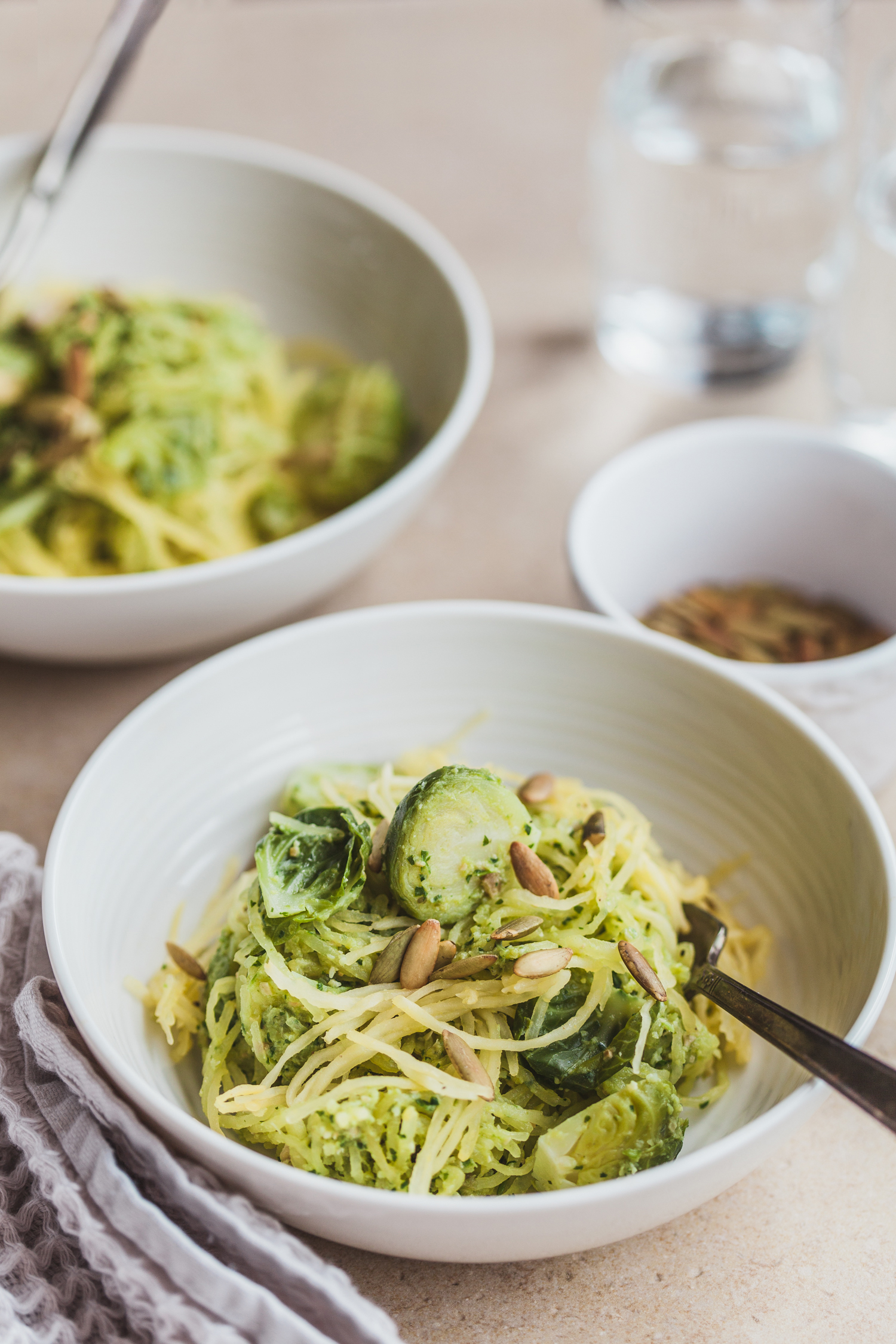 Spaghetti Squash Noodles with Brussels Sprout Pesto - Golubka Kitchen