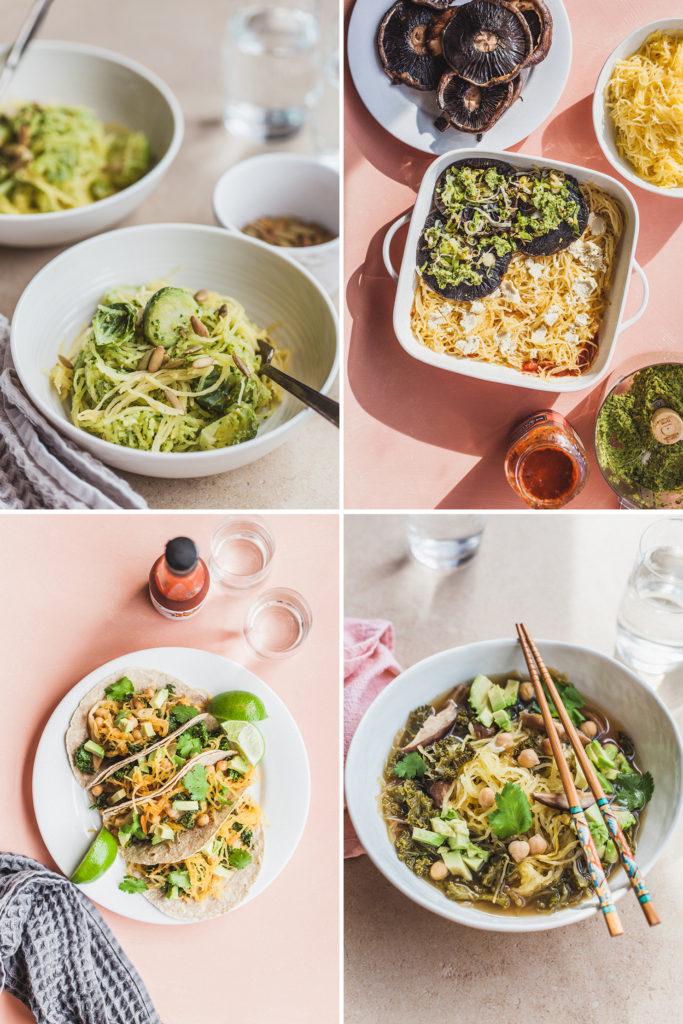 New Year Glow Meal Plan: Spaghetti Squash (Pho, Lasagna, Tacos, Pesto Noodles)