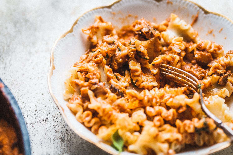 Zucchini, Tempeh and Mushroom Bolognese - Golubka Kitchen
