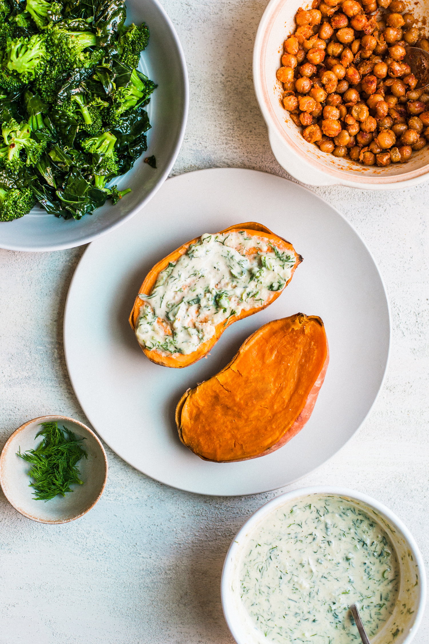 Silky Sweet Potatoes with Cucumber Tahini Ranch, Green Veg and Chickpeas - Golubka Kitchen
